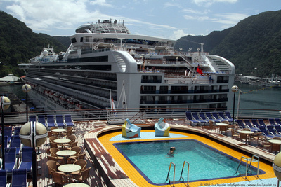 Looking at the Sapphire Princess from Volendam's Sport Deck in American Samoa