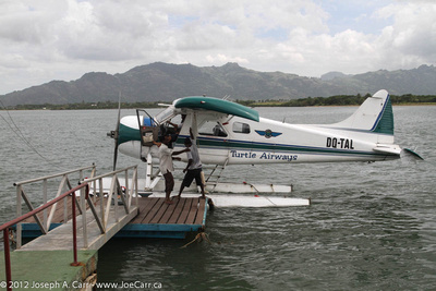JoeTourist: Yasawa Islands &emdash; Turtle Airways' DeHavilland Beaver seaplane at the dock in Nadi