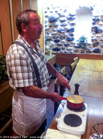 Otto demonstrating cheese fondue