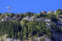 Gondola cresting the cliff to Murren