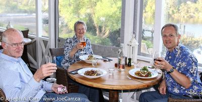John, Wendy & Joe at Pear Tree restaurant in Kerikeri